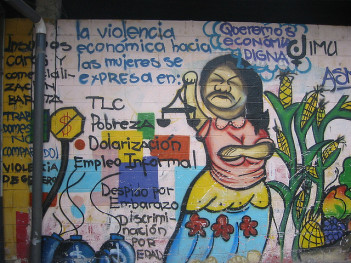 Mural for economic justice, San Salvador,