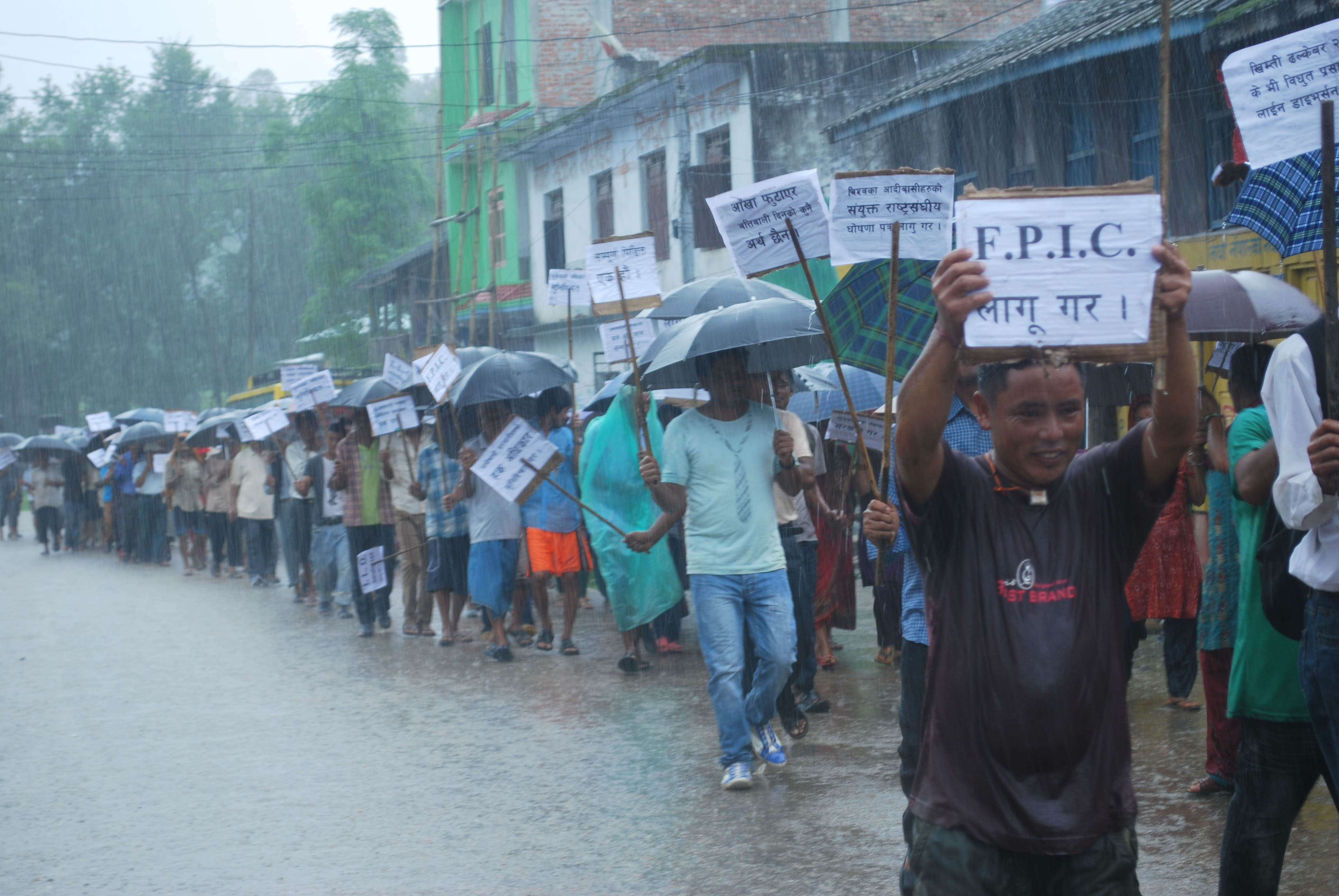 Protestors calling for free prior and informed consent (FPIC) during a September 2013 protest in Sindhuli Bazar, Nepal. Photo: Shankar Limbu