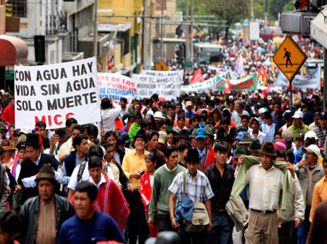 Indigenous peoples protesting a government bill on water resources in Ecuador in 2010. Photo: Lou Gold