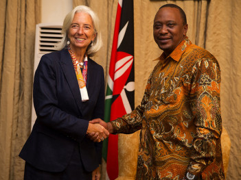 Christine Lagarde with Kenya's president Uhuru Kenyatta, January 2014. Credit: IMF