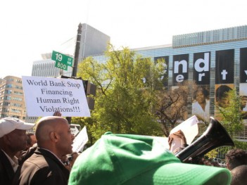 Protest in front of the World Bank. Credit: Joe Athialy