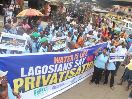 Civil society protest against water privatisation March 2015; Credit: Corporate-Accountability International