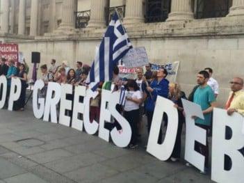 June solidarity protest against Greek debt, London; credit: Global Justice Greece