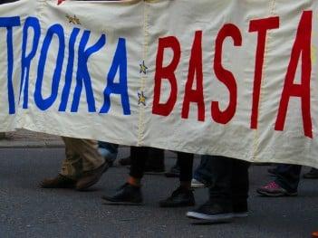 Greek protest against Troika, February 2016. Photo:  laetitiablabla