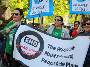 Safeguards protest during the World Bank spring meetings, April 2016. Credit: International Accountability Project