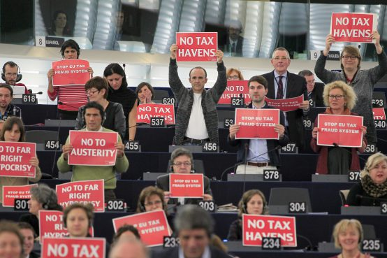 No tax havens! Credit: GUE/NGL Action in Plenary chamber