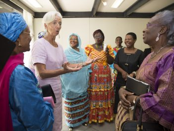 International Monetary Fund Managing Director Christine Lagarde meets with women leaders, January 2016 in Douala, Cameroon.  IMF Staff Photo/Stephen Jaffe