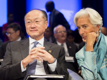 October 8, 2016 - WASHINGTON DC., 2016 IMF / World Bank Annual Meetings. World Bank Group President Jim Yong Kim; IMF Managing Director Christine Lagarde; Photo: Simone D. McCourtie / World Bank