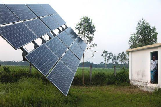Solar panels in Rohertek, Bangladesh. Credit: Dominic Chavez, World Bank
