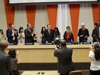 Lanzamiento del Grupo de Alto Nivel del ONU sobre el Empoderamiento Económico de las Mujeres, septiembre de 2016. Crédito: ONU Mujeres / Ryan Brown