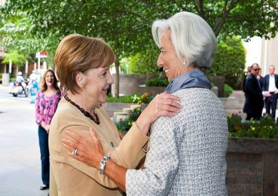 La canciller alemana Merkel y el director gerente del FMI Lagarde; Crédito: FMI