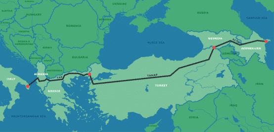 Mapa del Corredor de Gas del Sur. Crédito: Bankwatch