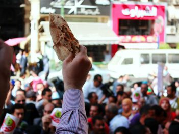 'Bread, Freedom, Social Justice'. 2013 protest against proposed IMF loan to Egypt; by Mossab Shahrur for ECESR