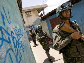 Peacekeepers patrol Haiti during elections.