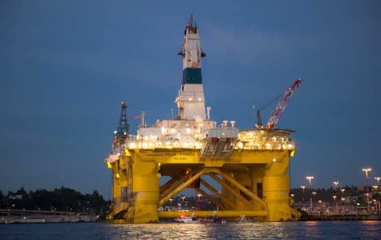 An Artic-bound oil rig in Seattle's Elliot Bay in 2015.