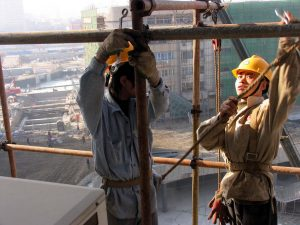 Construction workers at work, Tianjin, China