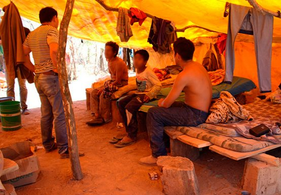 a group of workers living in a tent in Chaco, Paraguay