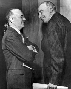 John Maynard Keynes and Harry Dexter White at the inaugural meeting of the IMF's Board of Governors in Savannah, Georgia, U.S., March 8, 1946