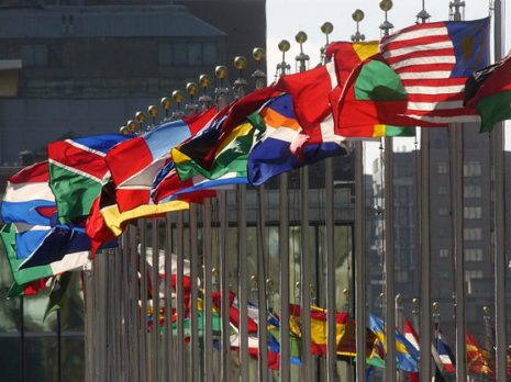 Flags of member nations flying at United Nations Headquarters