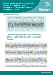 Biefing cover: Low-carbon infrastructure, sustainable finance, and people-focused development