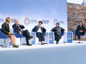 The IMF's managing director Kristalina Georgieva, among others, at a seminar entitled, 'Can Central Banks Fight Climate Change' during the 2019 IMF Annual Meetings.