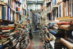 Novel antique building reading narrow pile