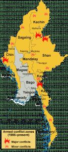 Map of Armed conflict zones in Myanmar (Burma) since 1995.