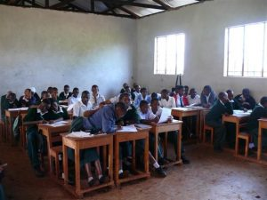 Msaranga Secondary School, Moshi, Kilimanjaro Tanzania classroom.