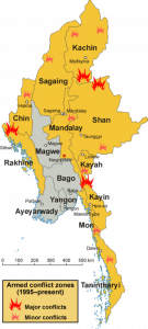 Armed conflict zones in Myanmar (Burma) since 1995.