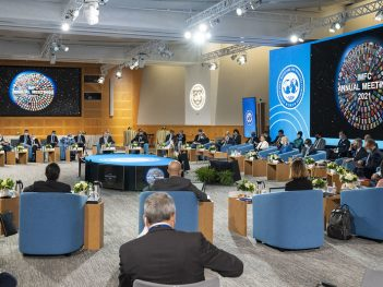 Managing Director Kristalina Georgieva speaks during the IMFC Plenary meeting during the 2021 Annual Meetings at the International Monetary Fund.